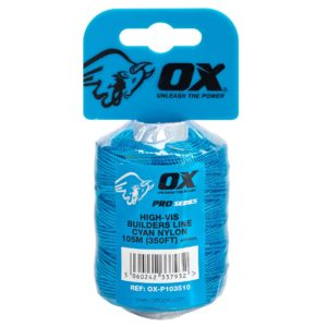 OX Pro Nylon High Vis Builders Line 105m : 350ft – Cyan
